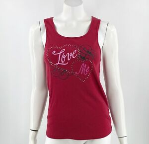 Cacique Sleepwear Tank Top 14/16 Red Love Me PJ Pajama Top Ribbed Womens