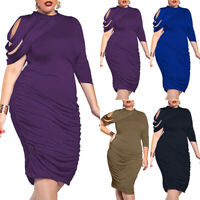 Plus Size Women Bodycon Dress Evening Party Gown Pleated Midi Dresses Oversized