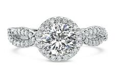 Real 14KT Solid White gold 2.58ct Round Brilliant cut Halo Engagement Ring