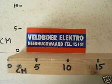 STICKER,DECAL VELDBOER ELEKTRO HEERHUGOWAARD TEL 15141 AUDIO ?