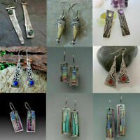 925 Silver Earrings Amber Peridot Sapphire Ear Hook Malachite Drop Dangle Gift