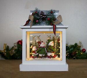 Large LED Christmas Snowman Family Scene Lantern Wooden Decor Pine Cones Light