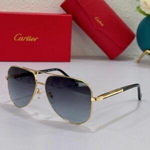 New Men Cartier Sunglasses Gold Frame Grey Lens