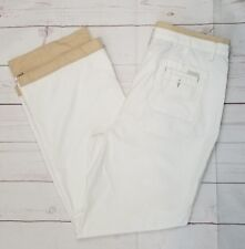 """West Coast Connection Size 14 White Pants Beige Trim Zippered Ankle Flaps 36"""" W"""