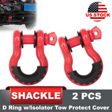 2Pcs D Ring Shackle Red w/ isolator Tow Silencer Black Clevis Protector Cover