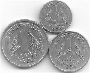 RARE Indian Nickel Coin Set - Rupee One, Half & Quarter, of 1950, 1954 & 1954