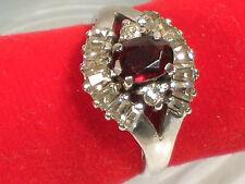 Garnet and CZ Signed Vintage Ring Set in Sterling Silver.925, Size 5