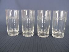 "FOUR 5¼"" ETCHED CRYSTAL HIGHBALL FLAT TUMBLER GLASSES"
