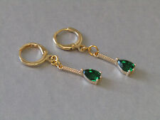 Green Tiny Teardrop Huggie Hoop Leaver Back Small Drop Gold Plated Earrings