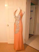 Designer Nurielle Haute Couture Swarovski Crystal Apricot Dress Size 8-12