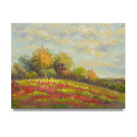 NY Art - Impressionist Hillside Poppy Flowers 12x16 Oil Painting on Canvas!
