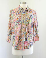 Robert Graham Pink Paisley Print 3/4 Sleeve Button Front Shirt Blouse Size S