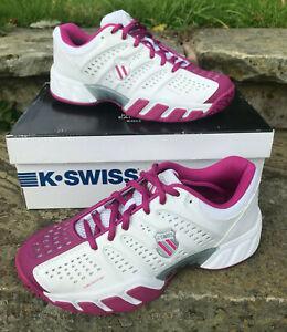 K-Swiss Big Shot Light 2.5 Womens Tennis Shoes UK 4 - New with Box! Wht/Magenta
