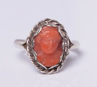 Antique Arts & Crafts Sterling Silver & Coral Cameo Ring
