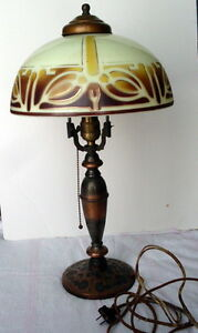 Highly Sought After PL&B Co Pittsburgh Pilabrasco Art Nouveau Table Lamp