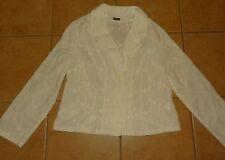 weiße Damen-Bluse OPPOSE FLINI  Chemisier Blusen-Jacke weiß Blumen Stickerei