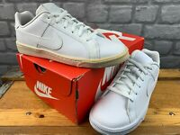 NIKE COURT ROYALE TRIPLE WHITE TRAINERS CHILDRENS LADIES RRP £55 T