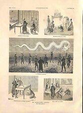 Superstitions en Chine Mandarins Dragon Lampions Flottants Asie GRAVURE 1885