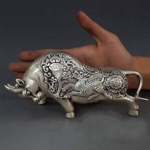 Collectible China Ancient Handwork Silver A Pair Carve Big Cattle Antique Statue
