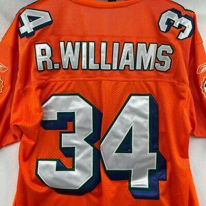 REEBOK ON FIELD MIAMI DOLPHINS RICKY WILLIAMS ORANGE 34 STITCHED JERSEY SZ 50