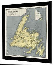 "Framed 1924 Antique Map of NEWFOUNDLAND Canada - On Canvas - 29"" x 32"""