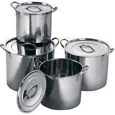 4 pc in acciaio inox grande ristorazione cucina stock POT PENTOLE CON MANIGLIE E COPERCHI