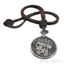 Casual Mens Charms Vintage Silver Skull Pendant Leather Necklace Strand String