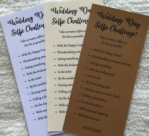 x12 Wedding Day Selfie Challenge Game Cards Photo Camera Table Activity