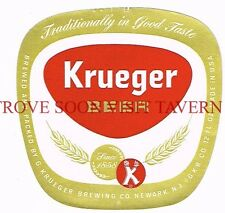 Unused 1960s Krueger Beer 12oz Newark Label Tavern Trove New Jersey