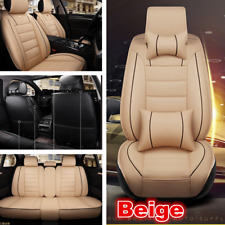 Luxury Car Front &Rear PU Leather Car Seat Cover Breathable Cushion w/Pillows