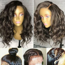 100% 8A 1B Pre Plucked Silk Top Full Lace Human Hair Wig Long Wavy Brazilian #55