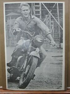 Steve McQueen Great Escape Large 1960's biker Vintage Black White Poster