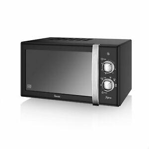 Swan SM22130BN Retro Manual Microwave, 20 Litre, 800 W, Black