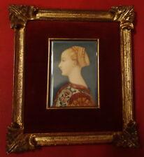 Portrait miniature, Renaissance italienne, cadre sculpté et doré ; XIXème siècle