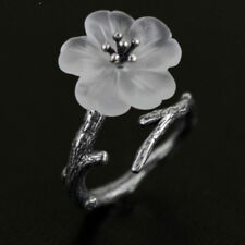 Charm Opening Jewelry Vintage White Flower Ring Tree Branch Adjustable