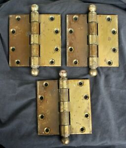 """4""""x4"""" Antique Vintage Old Hager SOLID Brass Exterior Entry Door Hinges Ball Tip"""