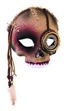 Voodoo Skull Half Mask with Steampunk Eye Halloween Mens Scary Masquerade