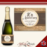 L175 Personalised Fancy Anniversary Custom Champagne Prosecco Bottle Label Gift!