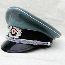 More details for repro wwii ww2 german army elite wool visor hat wh m36 military officer cap new