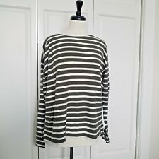 J Crew Women's Long Sleeve Light Sweater knit White and Olive Stripes Sz Small