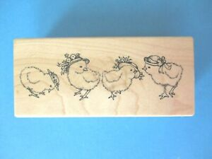 PSX SPRING CHICKS Rubber Stamp F-1919 EASTER BONNET Hats