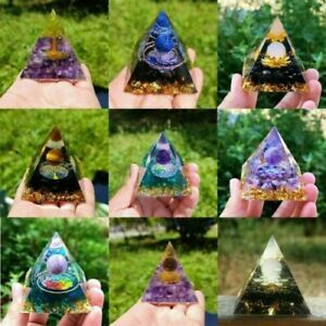 Amethyst Crystal Sphere Orgonite Pyramid Obsidians Chakra Energy Orgone Stone AU