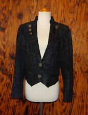 80s Crop Jacket Morie Taffeta Embossed Leather Daniel R.Leder Atelier Munchen L