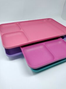 4 Tupperware Divided Food Trays Pink Purple Teal Magenta #1535