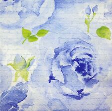 3 x Single Paper Napkins For Decoupage Blue Watercolor Painted Rose Script M506