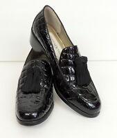Jones New York Sport Black Leather Loafer 6 Tassel Slip On Shoe Crocodile Emboss