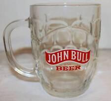 JOHN BULL BEER MUG HEAVY GLASS CROWN ENGLAND NICE HANDLE VINTAGE LOGO
