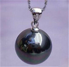 Beauty Lustrous 16mm Black South Sea Shell Pearl Round Pendant Necklace 17'' AA