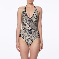 NWT CARMEN MARC VALVO Ornamental Floral Cutout Halter One Piece Swimsuit 8 mr02