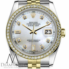 Woman's Rolex 26mm Datejust 2 Tone White MOP Mother Of Pearl 8+2 Diamond Watch